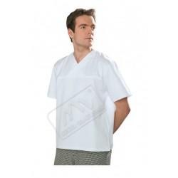 Bluza w serek krótki rękaw biała